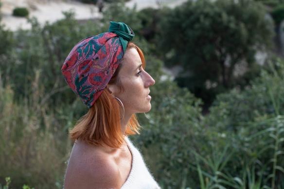 turban, foulard, accessoire cheveux, fichu, fleurs